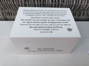 Personalised In Memory Of Box Loved One ~ DAUGHTER ~ any Name Bereavement Loss - 253570209057